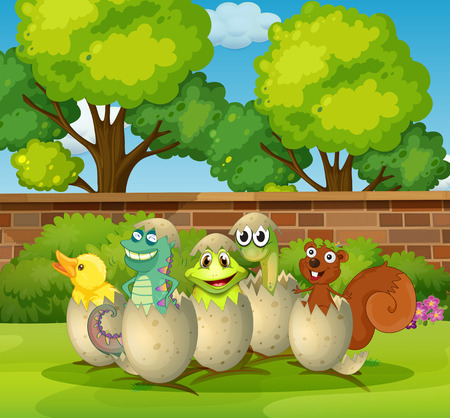 eggshells: Animals in eggshells in the park illustration