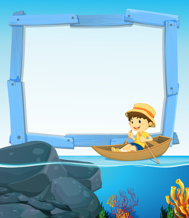 rowing boat: Border design with boy rowing boat illustration