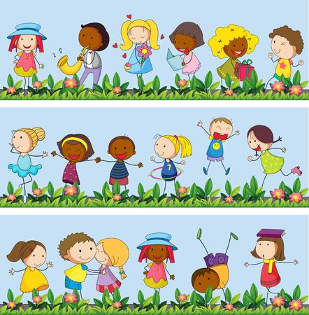 Niños jugando en la ilustración jardín
