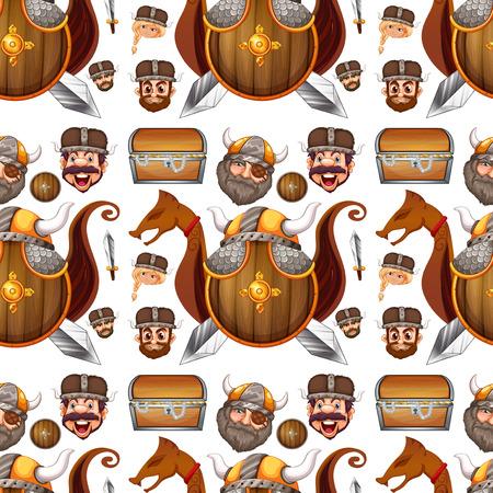 sheild: Seamless background design with viking theme illustration