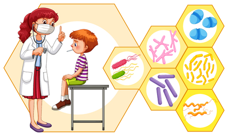 doctors and patient: Doctor and patient with virus illustration