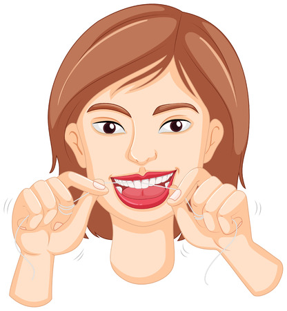 flossing: Woman flossing the teeth illustration