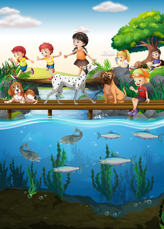 child drawing: Boys and girls crossing the river illustration