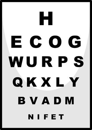 ophthalmologist: Reading chart for ophthalmologist illustration