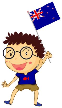 new zealand flag: Boy and New Zealand flag illustration