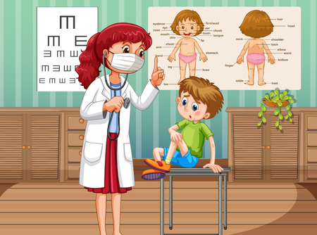 boy doctor: Doctor healing boy in clinic illustration
