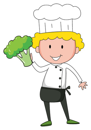 one hand: Chef holding broccoli in one hand illustration Illustration