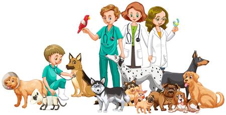 Los veterinarios y muchos animales ilustración