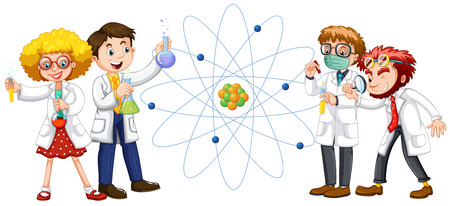 scientists: Male and female scientists illustration Illustration