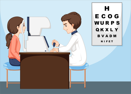 eye doctor: Eye doctor and patient in the clinic illustration