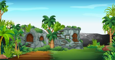 Nature scene with stone houses illustration Illustration