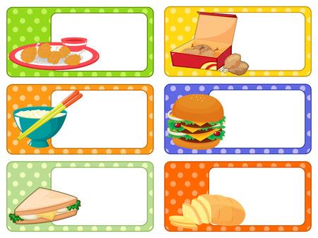 label design: Label design with many kind of food illustration