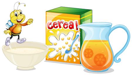 cereal: Cereal and orange juice for breakfast illustration Illustration