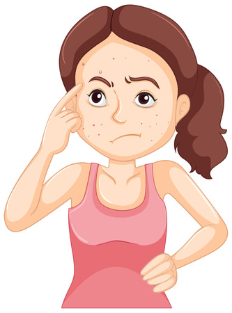 zit: Woman with face full of pimples illustration Illustration