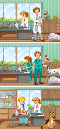 working animal: Vets working in the animal hospital illustration