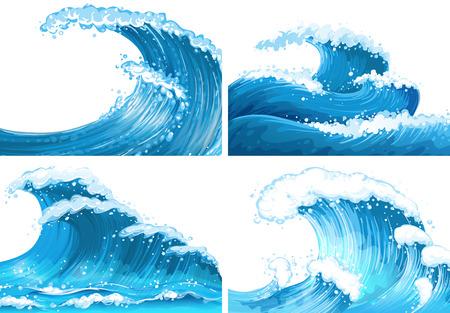 Quattro scene di illustrazione onde dell'oceano