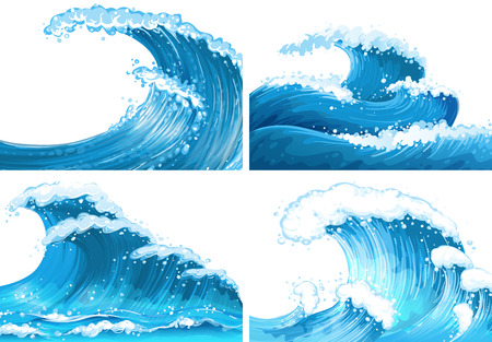 Four scenes of ocean waves illustration