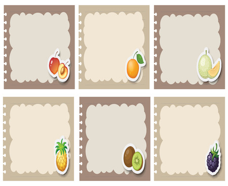 rasberry: Square labels in gray with fruits illustration
