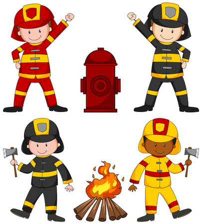 multiple image: Firefighters and many equipments illustration