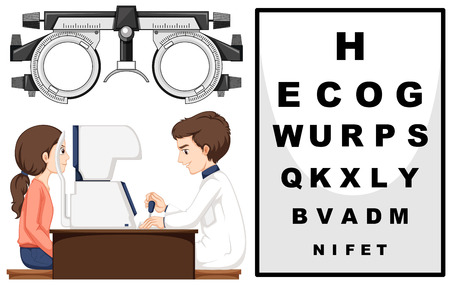eye exam: Eye doctor and patient illustration