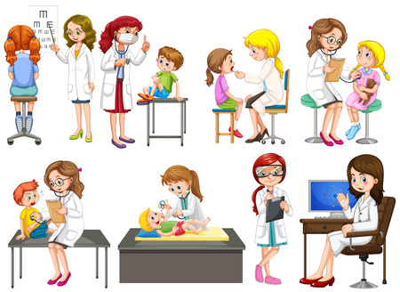 doctors and patient: Doctors and patient at clinic illustration