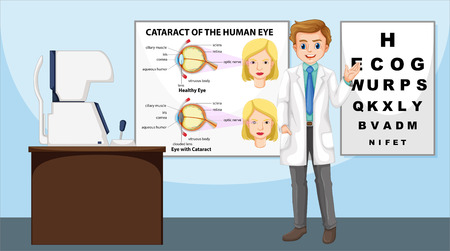 eye doctor: Eye doctor standing in the clinic illustration