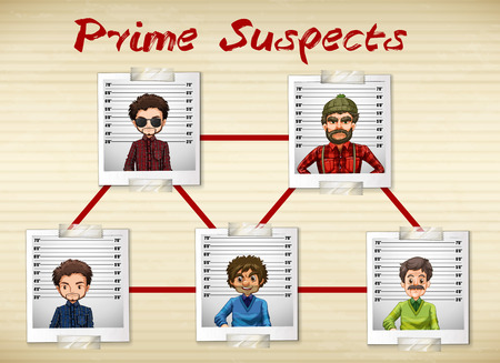 being: Photos of men being prime suspect illustration