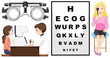 eyeglass: Eye checking machine and patients illustration