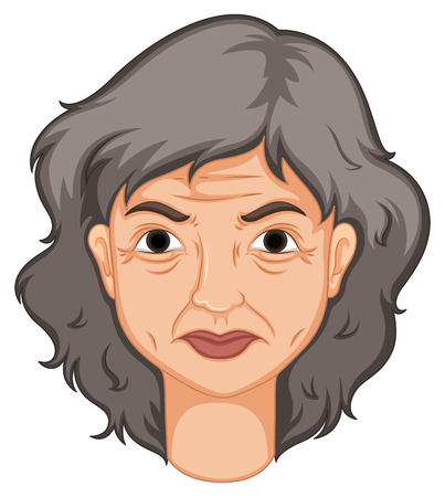 gray hair: Adult woman with aged skin illustration Illustration