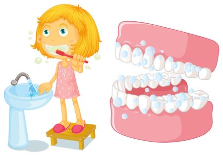 Little girl brushing teeth illustration Ilustração