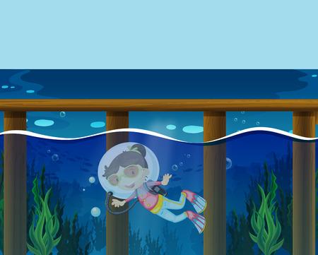 student travel: Girl diving under the ocean illustration