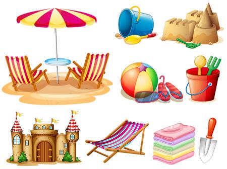 Strand-Set mit Sitz und Spielzeug Illustration