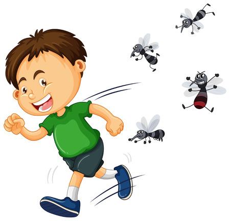 mosquitos: Boy get bitten by mosquitos illustration Illustration