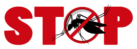 infectious disease: Stop sign with mosquito illustration