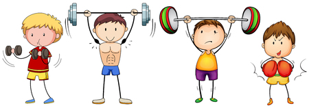 many people: Many people doing weightlifting illustration