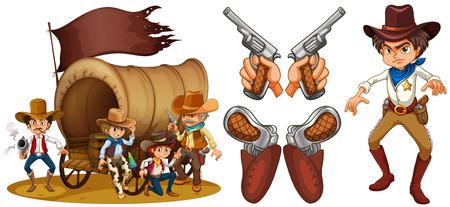 cowboy man: Western set with cowboy and guns illustration