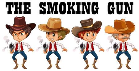 western theme: Western theme with cowboy shooting guns illustration Illustration