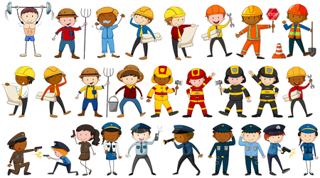 occupations: Set of people in different occupations illustration Illustration