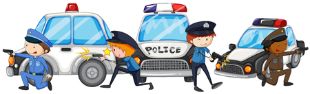 white car: Policeman with gun by the police cars illustration Illustration