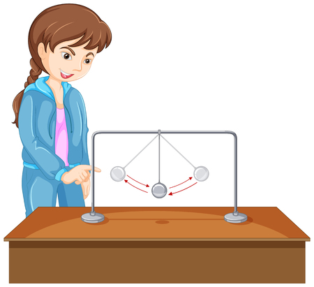 force: Girl experiment with gravity ball illustration Illustration