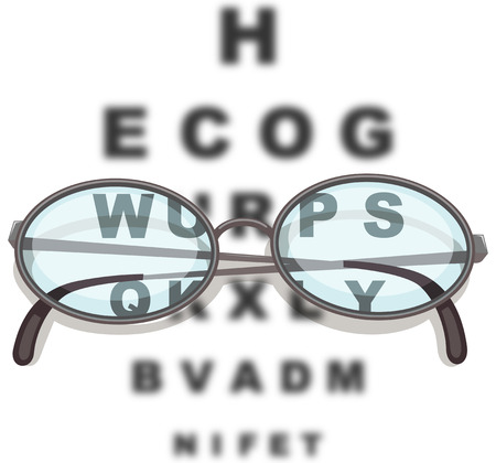eyeglass: Pair of eyeglasses and reading chart illustration