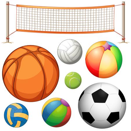tennisball: Set of different balls and net illustration Illustration