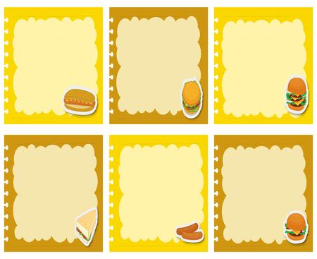 art frame: Label design with fastfood illustration