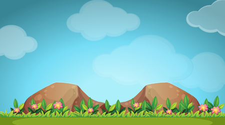 rock garden: Nature scene with flower and field illustration