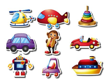 Sticker set of many toys illustration 向量圖像