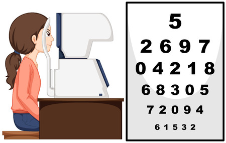 numbers clipart: Woman having eyes exam with machine illustration