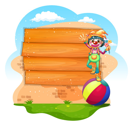 plywood: Wooden sign with clown standing on ball illustration