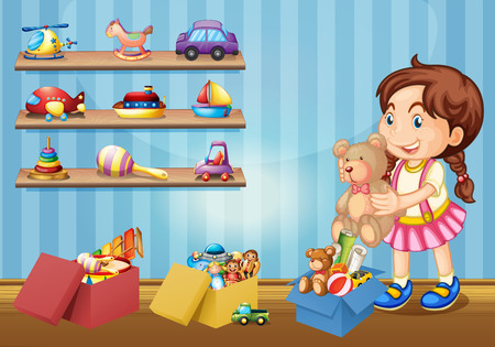 toy boat: Little girl and many toys illustration Illustration
