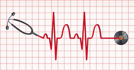 Estetoscopio y los latidos del corazón en la ilustración del papel cuadriculado