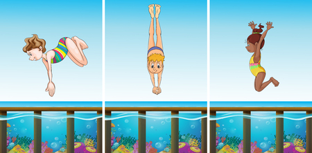 man underwater: Scenes with people diving in the ocean illustration